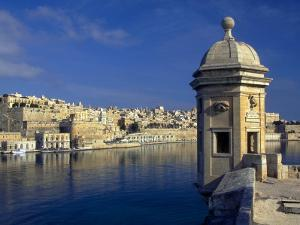 View of Harbor and Fortress Turret, Valletta, Malta by Robin Hill