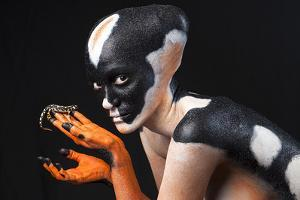 A Conservationist, Body-Painted and Photographed with a Luristan Newt, Neurergus Kaiseri by Robin Moore