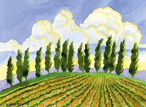 Cypress in the Clouds - Tuscany Italy - Italian Vineyards by Robin Wethe Altman