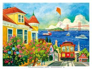 Spirit of San Francisco - California Bay Area - Cable Car, Golden Gate Bridge by Robin Wethe Altman