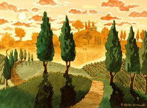 Tuscan Sunset - Tuscany Italy - Italian Vineyards, Cypress Trees by Robin Wethe Altman