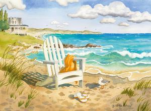 Waiting For You - A Week at the Beach House - Beach Chair Ocean View by Robin Wethe Altman