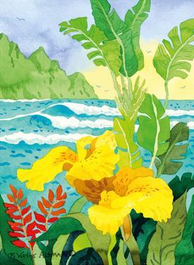 Yellow Canna with Waves - Tropical Paradise Hawaii - Hawaiian Islands by Robin Wethe Altman