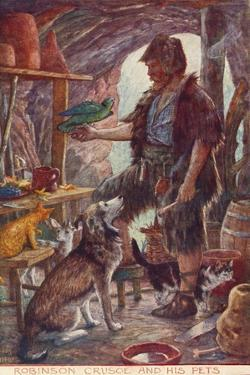 Robinson Crusoe and His Pets, from Adventures of Robinson Crusoe, Published 1908