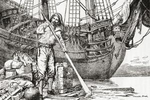 Robinson Crusoe Rowing to Safety on a Raft after Being Shipwrecked