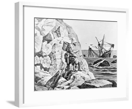 Robinson Crusoe Viewing His Wreck Print--Framed Giclee Print