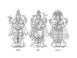 Vishnu, Shiva, and Brahma, 1847 by Robinson