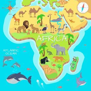 Africa Mainland Cartoon Map with Local Fauna. Cute African Animals Flat Vector. Savannah Predator. by robuart