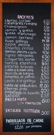 Spanish Menu from a Restaurant in Madrid by RobWilson