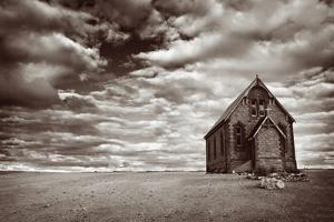 Abandoned Church in the Desert, with Stormy Skies by Robyn Mackenzie