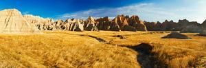 Rock Formations on a Landscape, Prairie Wind Overlook, Badlands National Park, South Dakota, USA