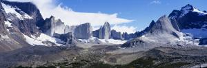 Rock Formations on a Mountain Range, Torres Del Paine National Park, Patagonia, Chile