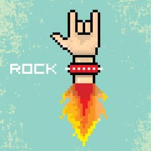 Vector Flat Pixel Rock N Roll Icon with Fire by rock n roll