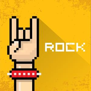 Vector Pixel Art Hand Sign Rock N Roll Music. by rock n roll