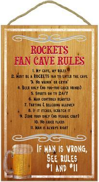 Rockets Fan Cave Rules Wood Sign