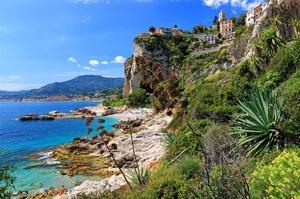Rocky Coast with View of Menton in France near Ventimiglia, Province of Imperia, Liguria, Italy