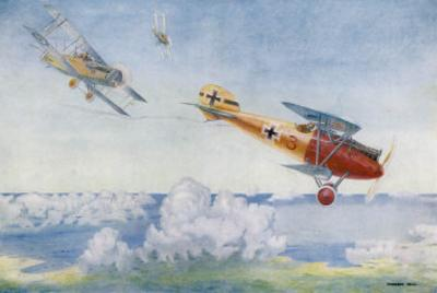 """German """"Albatros"""" is Pursued by Two British Aircraft"""
