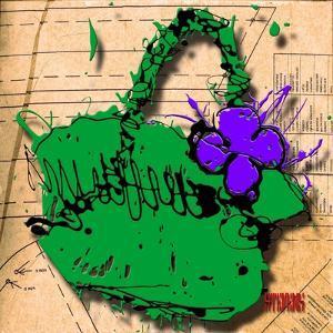 Flower Purse Purple on Green by Roderick E. Stevens