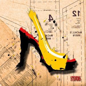Suede Heel Yellow Red Sole by Roderick E. Stevens