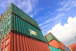 Stack of Cargo Containers at the Docks by rodho