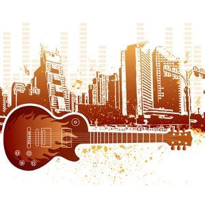 Urban Grunge City With Guitar by rodho
