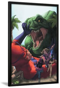 Avengers Academy No.25 Cover: Giant Man, Mettle, and Hazmat Fighting and Escaping a Dinosaur by Rodin Esquejo