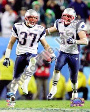 Rodney Harrison & Mike Vrabel - Super Bowl XXXIX - celebrate victory