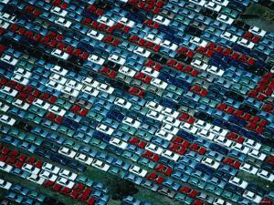 Aerial of New Cars Parked in Storage at the Melbourne Docks, Melbourne, Australia by Rodney Hyett