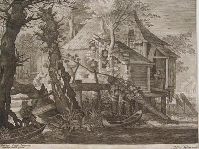 Landscape, Engraved by Aegidius Sadeler II (C.1570-1629), C.1600