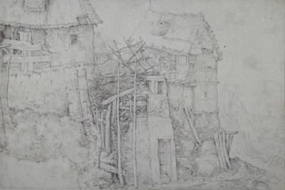 Thatched Dwellings, Partly in Ruins, on a Mountainside