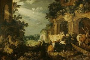 Landscape with Ruins, Cattle and Deer by Roelant Savery