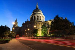 Lights of Evening Traffic Stream Past London's Iconic St Paul's Cathedral by Roff Smith