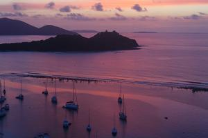 Sunrise and a Violet Sea and Sailboats with the Sir Francis Drake Channel, Tortola Island by Roff Smith