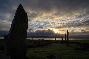 Sunset over the Ring of Brodgar, a 5000 Year-Old Neolithic Stone Ring, a World Heritage Site by Roff Smith