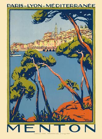 Menton, Paris - Lyon - Méditerrenée: France Railway Company, c.1920s by Roger Broders