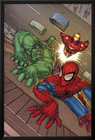 Marvel Adventures Super Heroes No.3 Cover: Spider-Man, Hulk and Iron Man