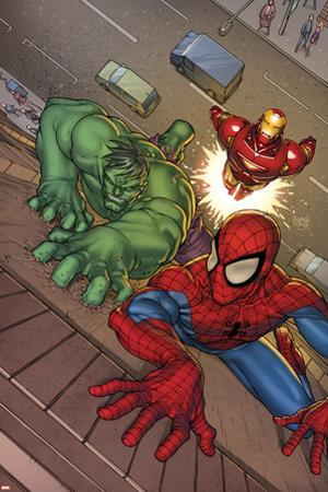 Marvel Adventures Super Heroes No.3 Cover: Spider-Man, Hulk and Iron Man by Roger Cruz