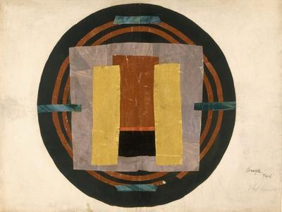 Circular Design for a Rug, 1916 (W/C and Collage on Paper)