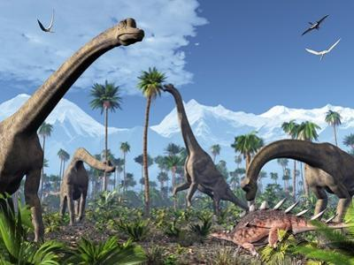 Brachiosaurus Dinosaurs, Artwork by Roger Harris