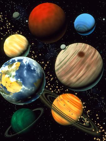 Computer Artwork Showing Planets of Solar System by Roger Harris