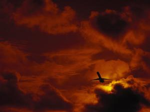 Silhouette of Airplane in Flight at Sunset by Roger Holden