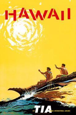 Hawaii - Fly TIA (Trans International Airlines) - Hawaiian Outrigger Canoe (Wa'a) by Roger LaManna