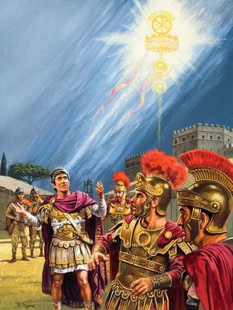 Constantine's Vision of the Christian Cross before the Battle of the Milvian Bridge