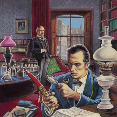 Sherlock Holmes in His Study by Roger Payne
