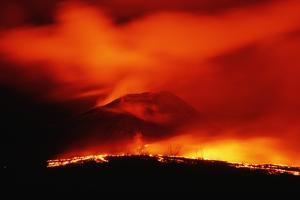 Lava Spilling from Kilauea at Night by Roger Ressmeyer