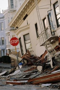 Quake-Damaged Apartment House by Roger Ressmeyer