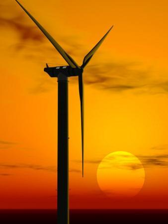 Wind Turbine at Sunset, Computer Generation by Roger Sutcliffe