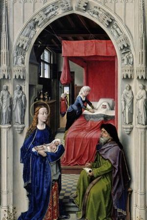 The Nativity of John the Baptist (The Altar of St. John, Left Panel), Ca 1455 by Rogier van der Weyden