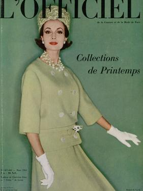 L'Officiel, March 1961 - Tailleur de Christian Dior en Tilfiz de Lesur by Roland de Vassal