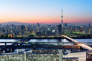Tokyo Skyline at Dusk, View of Asakusa District, Sumida River and Skytree by Roland Nagy